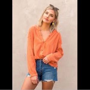 NWT Free People Moving Mountains Button Up Top
